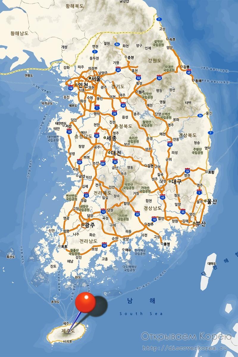 Карта Кореи и Чеджудо