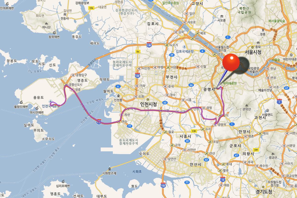 автобус 6004 Инчхон-Сеул