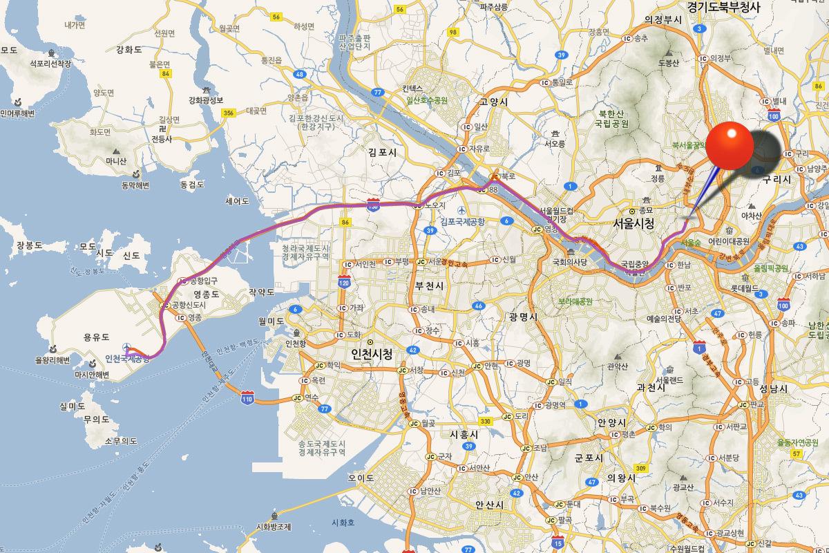 Маршрут автобуса 6010 Инчхон Сеул