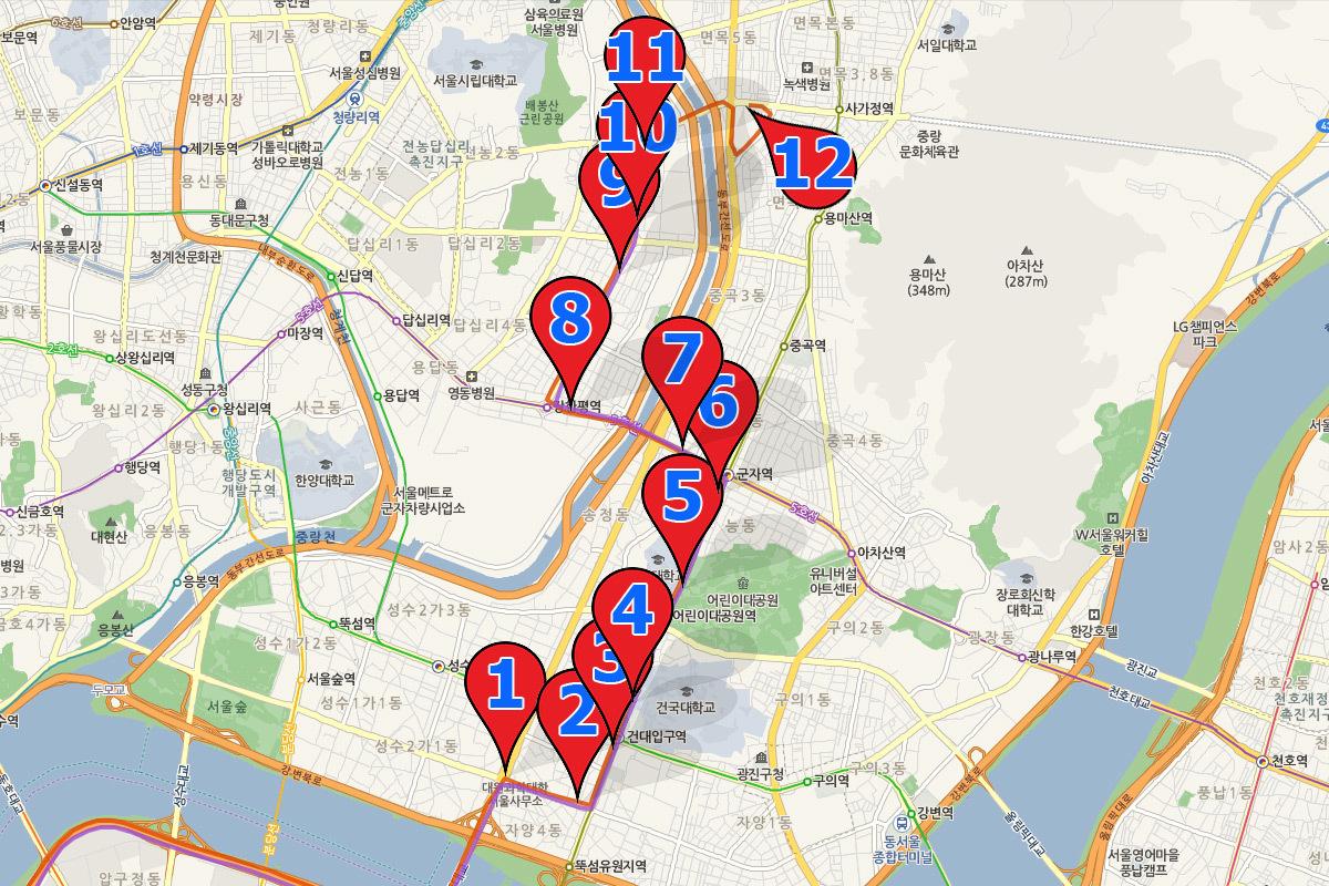 маршрут автобуса 6013 Сеул