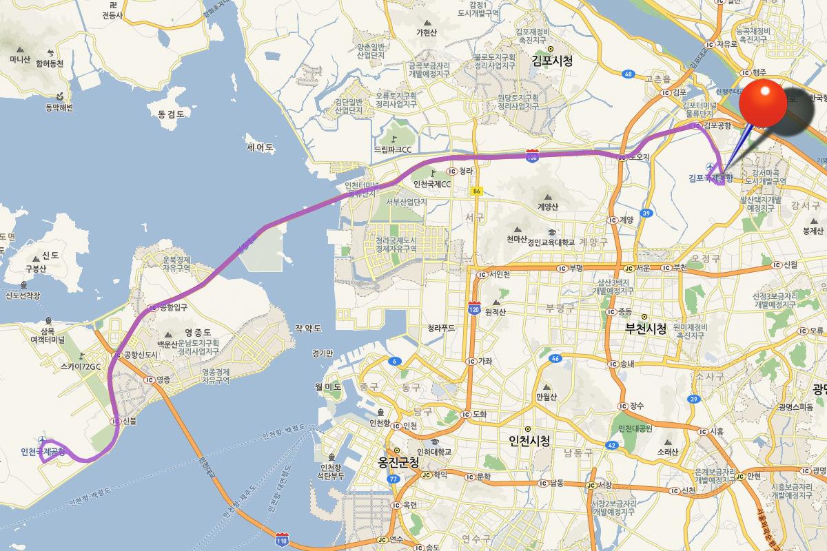 Маршрут автобуса аэропорт Инчхон - Гимпо 6105