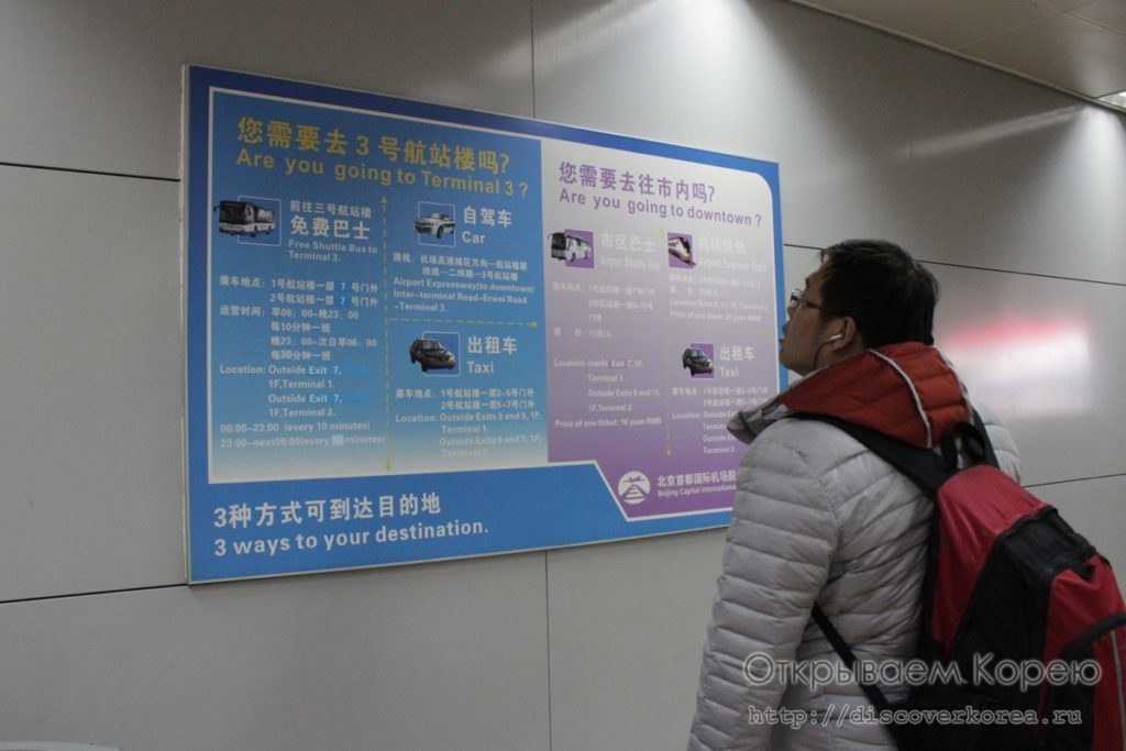 Схема межтерминального транспорта в аэропорту Пекин