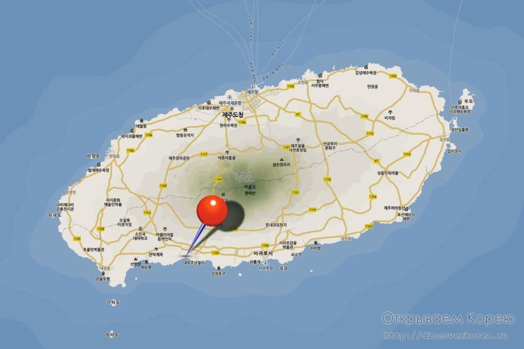Карта пляжа на Чеджудо
