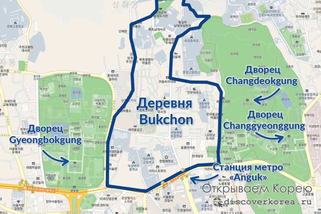 Деревня Букчон на карте