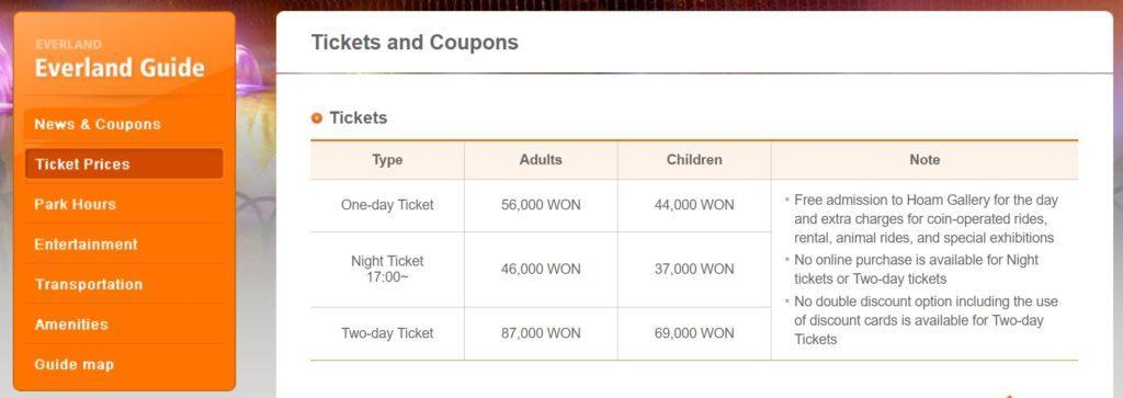 Эверленд-стоимость билетов