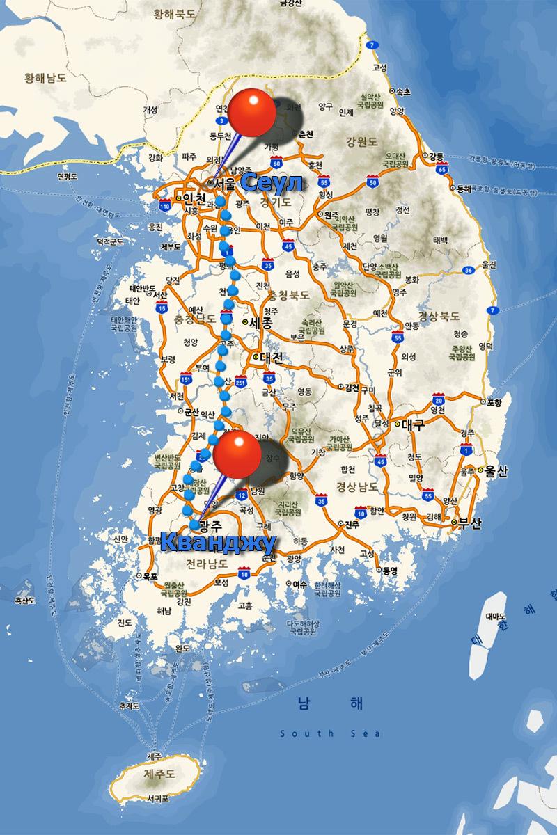 Gwangju-Seoul-map