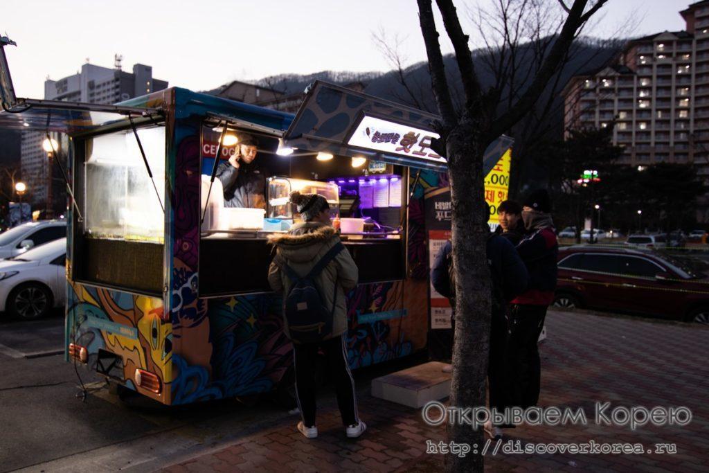 горные лыжи в Корее - таверна на колесах