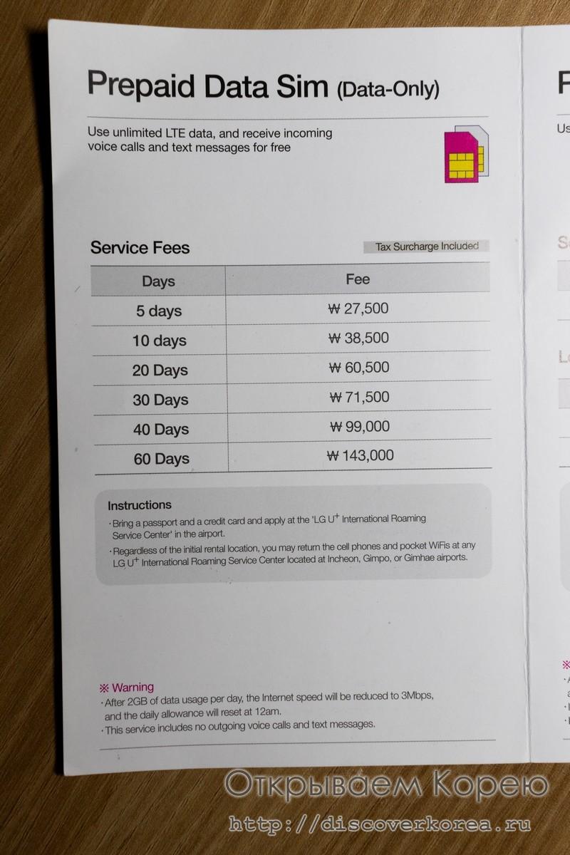 Связь в Корее аренда симкарты - цены