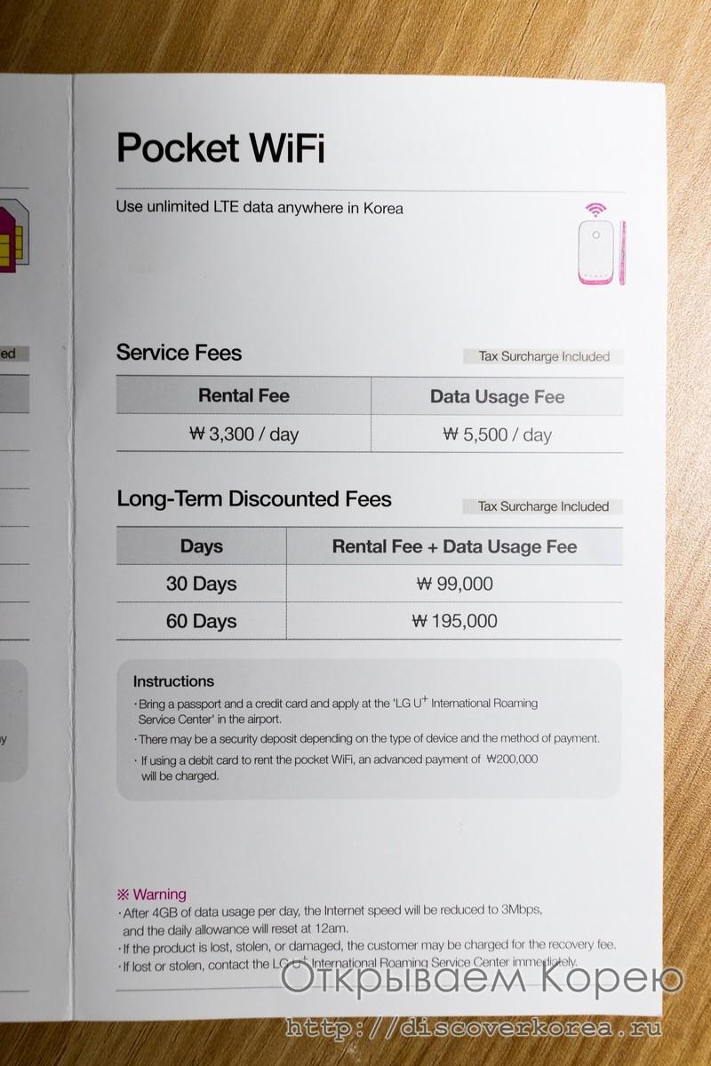 Связь в Корее аренда Wi-Fi роутера - цены