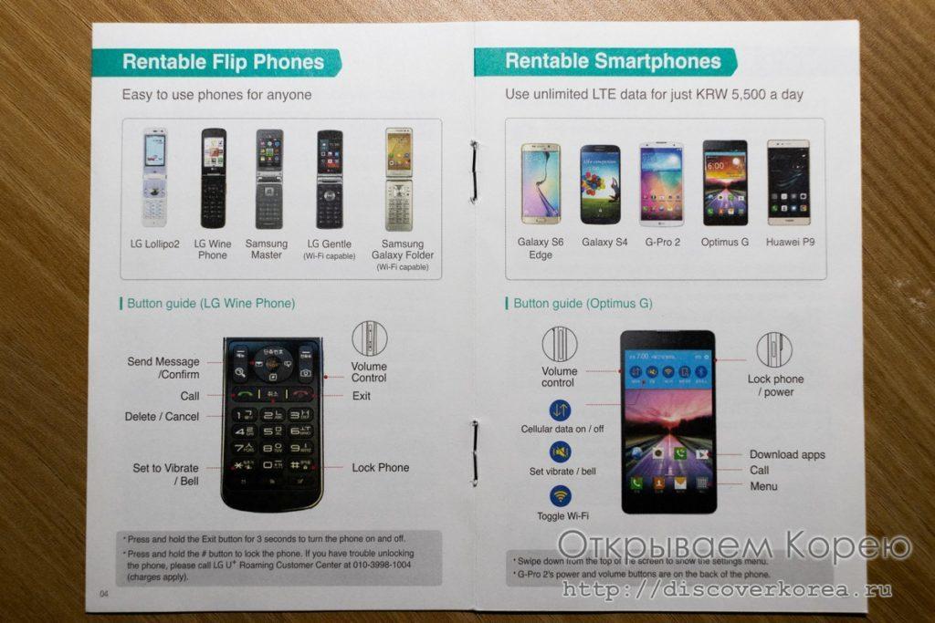 Смартфоны и телефоны Flip в аренду в Корее