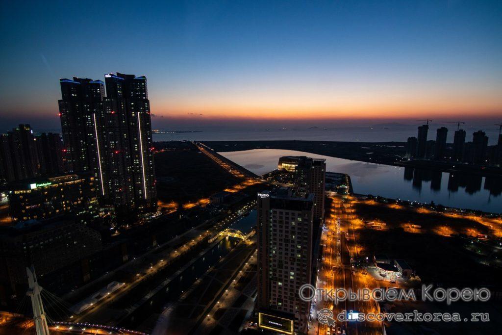 Закат на море вид с обзорной площадки башни G-Tower