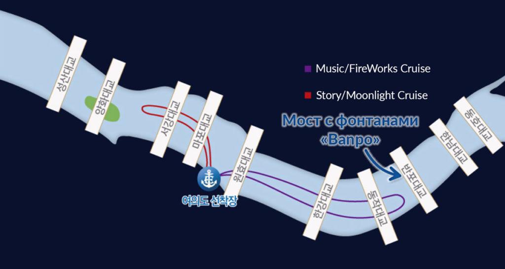 Карта маршрутов-прогулка на теплоходе по реке Ханган