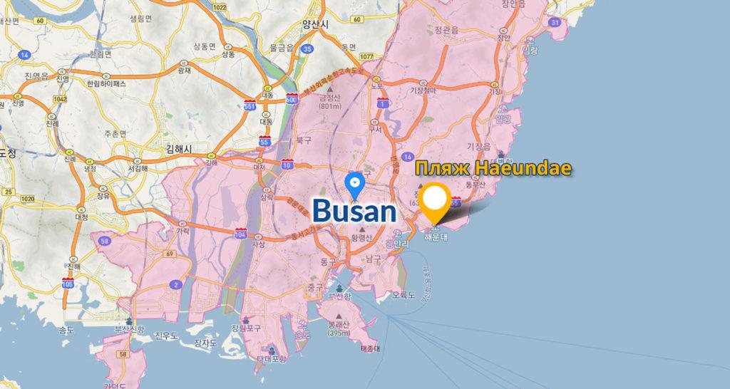 Океанариум в Пусане на карте города