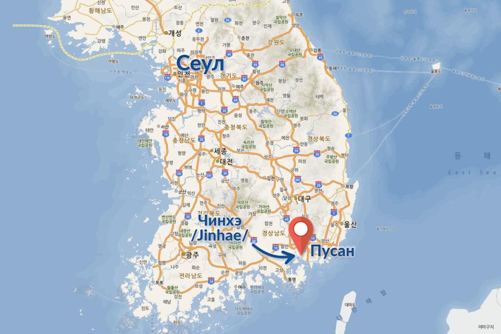 Сакура в Корее - Пусан карта
