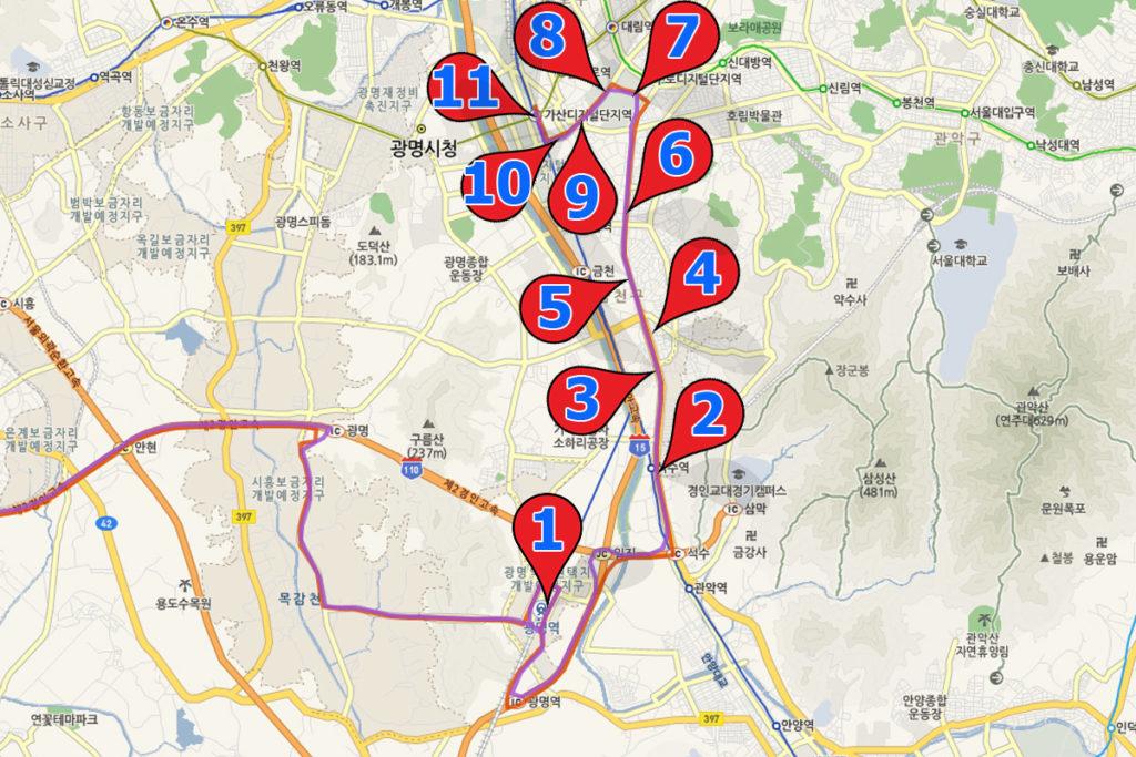 маршрут автобус 6004 Аэропорт-Сеул